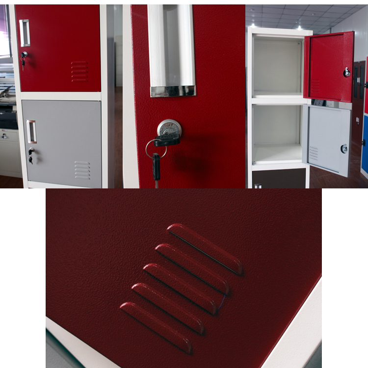 Gym Fingerprint Lock Powder Coated Steel Storage Lockers Metal Almirah  Cabinet Closet