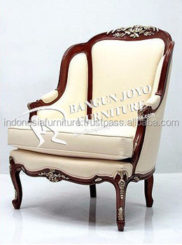 French Style Top Quality Antique Mahogany Wood Living Room Chairs