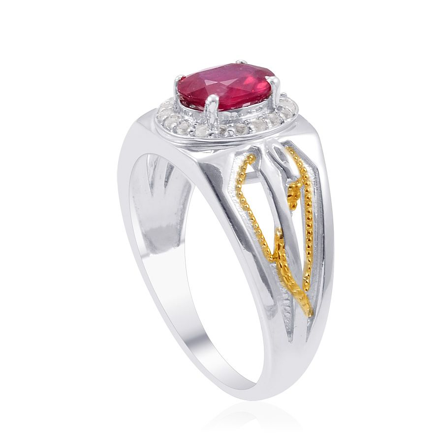 Fissure Filled Ruby Elegant Gemstone Ring 2.45 Ct In 925 Sterling Silver Size 11
