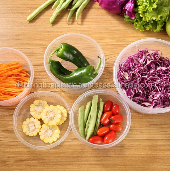 PS safe airtight micro wave takeaway plastic food containers Take away round food cont 600m
