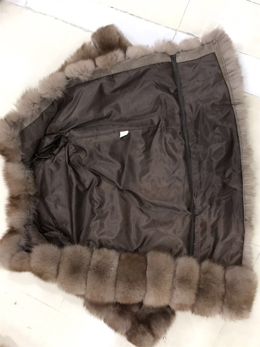 LantianFur High Quality long section Fox Fur Coat / Winter Coats For Women with removeable sleeve and length