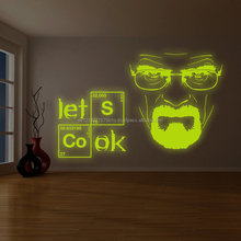Glowing Vinyl Wall Decal Breaking Bad Heisenberg Quote/ Glow in Dark Lets Cook Text Kitchen Sticker / Luminescent Serious Walter