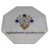 White Marble Pietra Coffee Table Top Abalone Shell Inlay Marquetry Home Art