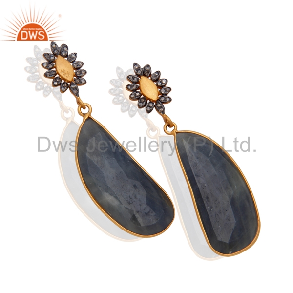 New Stylish Gold Plated Silver Pave Diamond and Sapphire Blue Gemstone Earring Manufacturer of Customized Jewelry