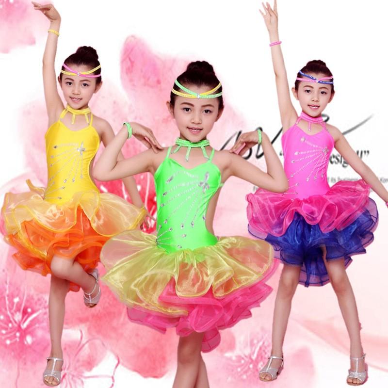 Barato Baile Latino Americano Vestidos De Noche Para Niños Niñas De ...