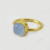 925 sterling silver blue chalcedony gold plated handmade bezel ring