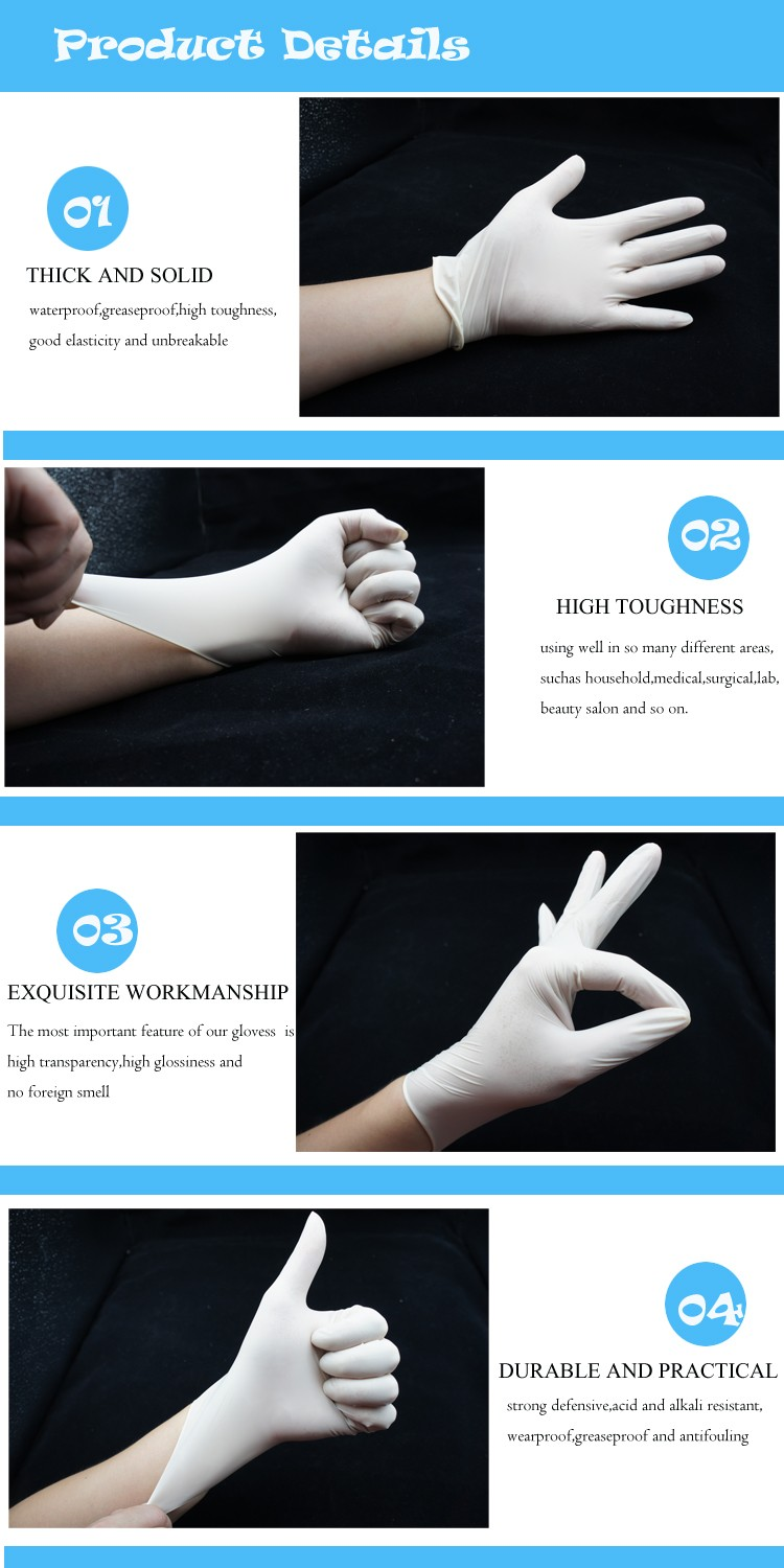 Top quality examination gloves latex malaysia