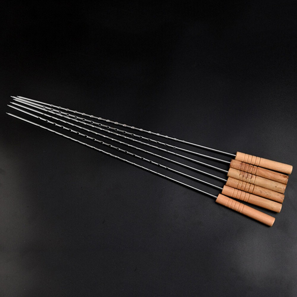 Wooden Handle Wide Blade Bbq Barbecue Skewers Shish Kebab