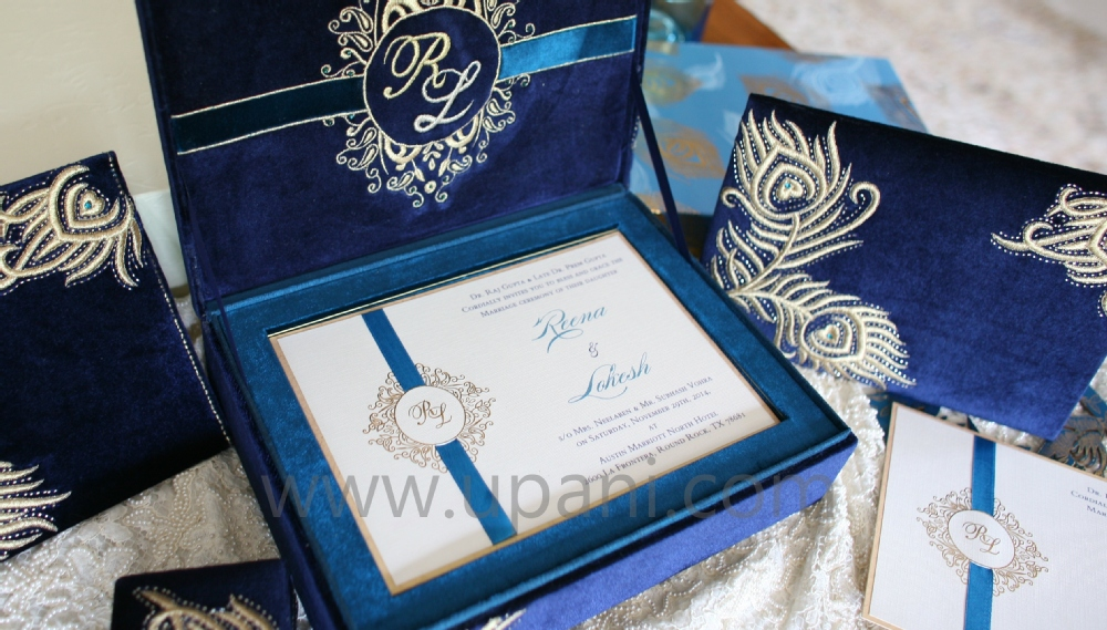 velvet royal wedding invitation with gold floral embroidery - buy, Wedding invitations