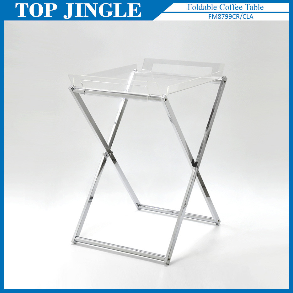 Modern Acrylic Small Folding Coffee Table Foldable Rectangle X Shaped Tray Product On Alibaba