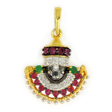 Gold Pendant With Emerald, Glass Filled Ruby & Diamond