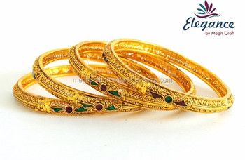 Indian Traditional Bangles One Gram Gold Plated Bangles Set