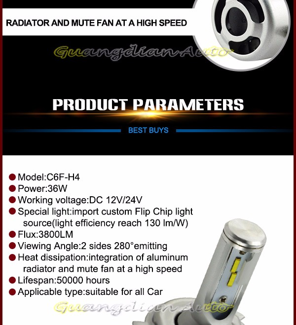 Hot sell AUTO parts C6F-H4 36W high power h4 led headlight Very condenser LED headlights
