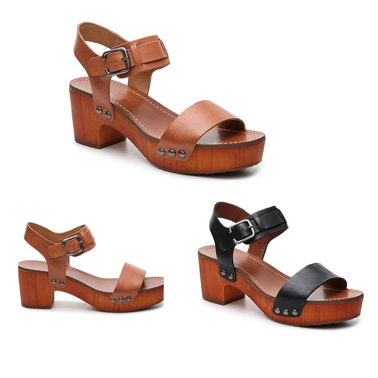 Wood Block Heel Rubber Sole Ankle Strap Studded Platform Sandal For Lady View Wood Block Heel Sandal Aoluola Product Details From Chengdu Aoluola