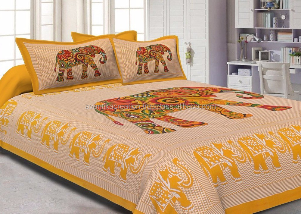Indian Rajasthani Jaipuri Double Cotton Fabric Double Bed Sheets Bedding Set  100% Cotton Bed Sheet