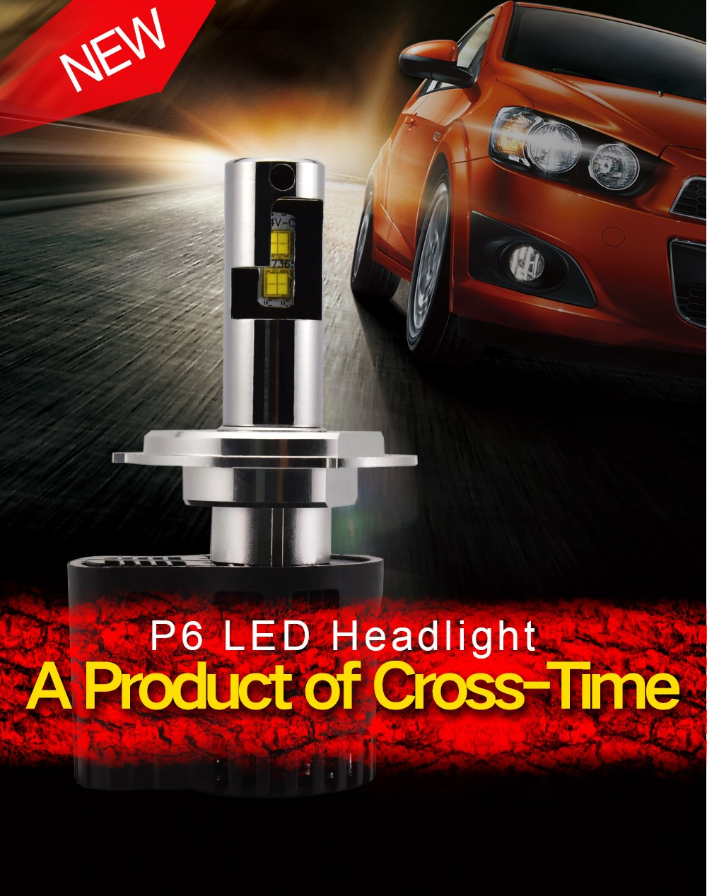 P6 55w h4 led headlight 5s replace hid projector headlight kit