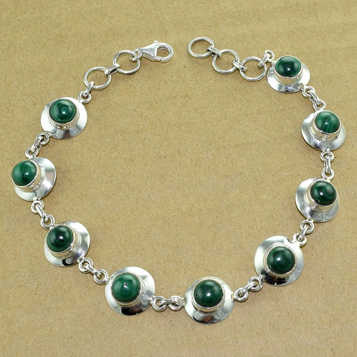 Malachite gemstone bracelet 925 sterling silver bracelet wholesale fashion gemstone silver jewelry