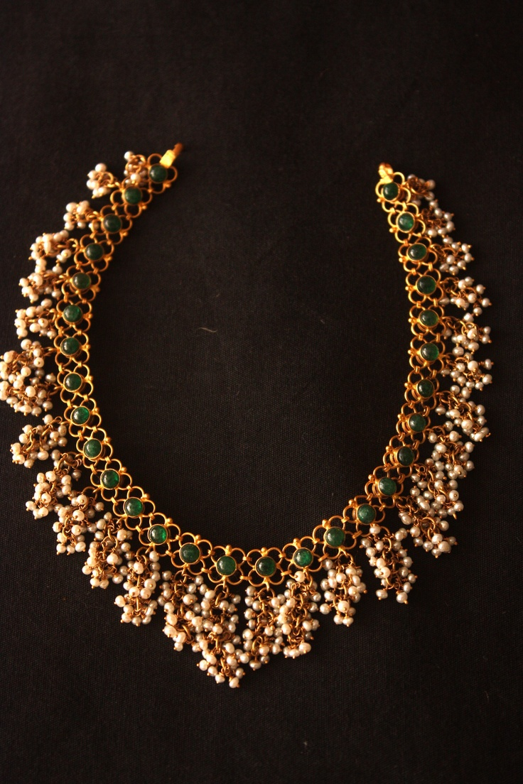 22k Gold South Indian Designer Indian Emerald Necklace With Small Pearl Piroi View Kundan Necklace Designs Swarn Jewels Product Details From Swarn Jewels On Alibaba Com