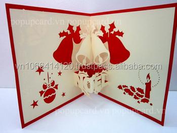 campanas de navidad 3d pop up tarjeta - Tarjeta De Navidad En 3d