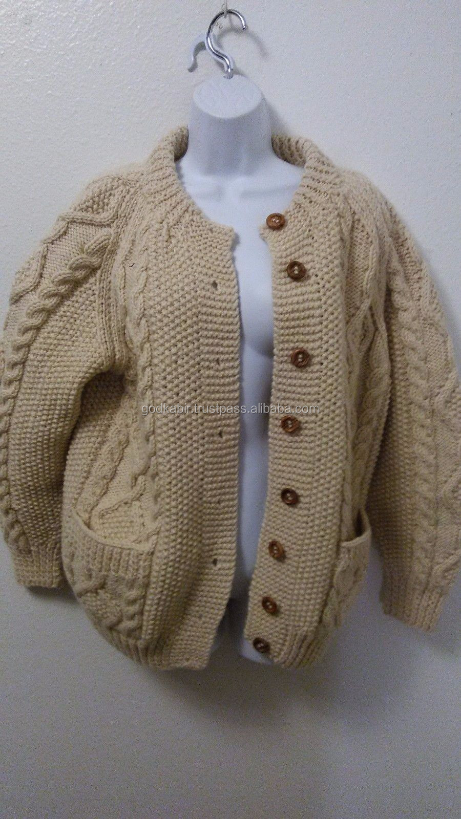Best Pattern Design Cotton Sweater 100% Wool Thick Cable Knit Aran ...