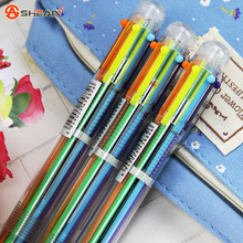 1pcs 6in1 Colors Cute Flexible Ball Pen Writing Colorful Ballpoint Pens School Office Gifts