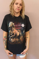 Horse Graphic Tee//animal print t shirt southwestern slouchy cowboy southwest Austin rodeo retro t shirt top black cotton