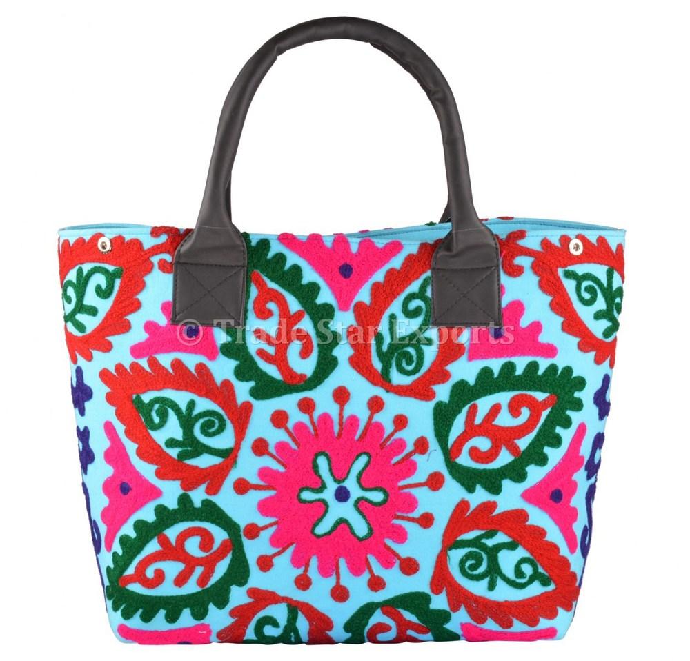 0ed7ffc475 Embroidery Suzani Handbag Women Tote Shoulder Bag Indian Designer Boho Bag  Beach Bag