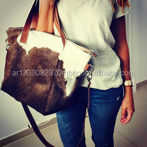 New fashion hair on hide leather totebag