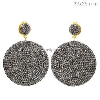 925 Sterling Silver Earrings For Women S Micro Pave Diamond Disc Handmade Jewelry