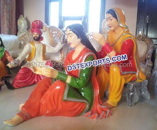 Punjabi Welcome Fiber Statues/punjabi Wedding Lady Statue With ...
