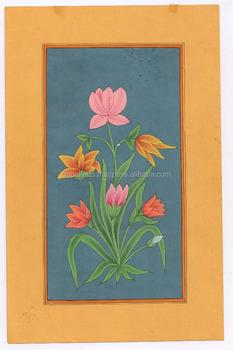 çiçek Minyatür Etnik El Boyalı Duvar Dekor Su Renk Orijinal Kağıt