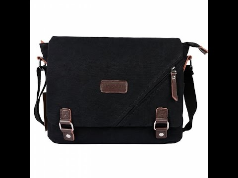ibagbar Canvas Messenger Bag Shoulder Bag Laptop Bag Computer Bag Satchel Bag Bookbag School Bag Wor