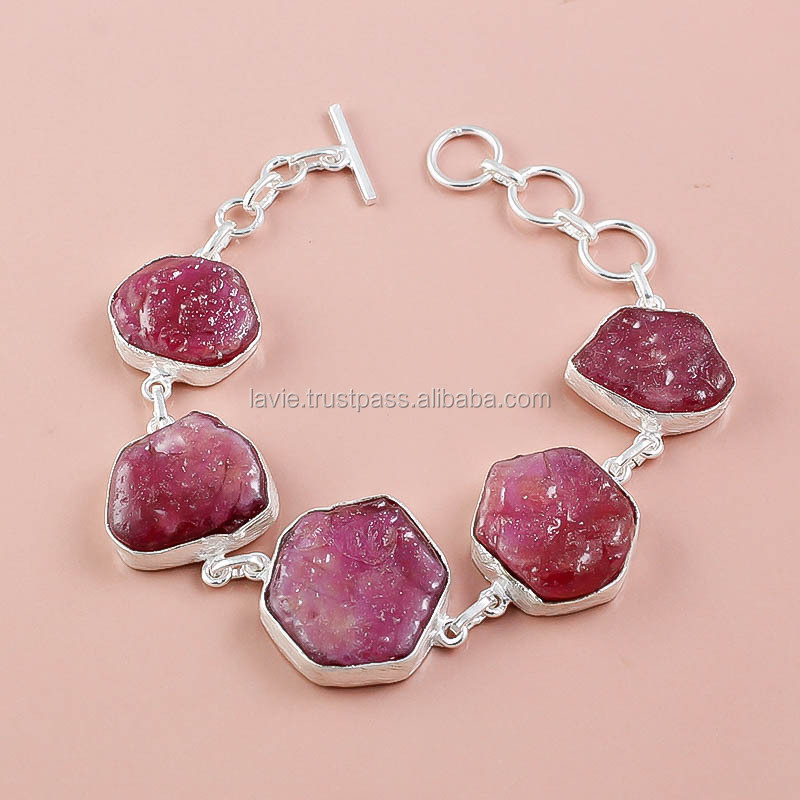 925 Sterling Silver Bracelet Natural Ruby Rough Gemstone Jewelry Raw