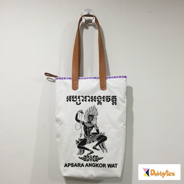 Dobbytex Cambodia Apsara Zippy Canvas Tote Bag With Leather Strap ... 9a727c4fdfc9