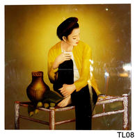Woman waitting Husband backhome in Dark Lacquer Handmade Paintings, Wall Art Lacquer Paintings