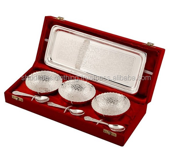 Indian Wedding Gifts For Guests -engraved & Silver Plated Brass ...