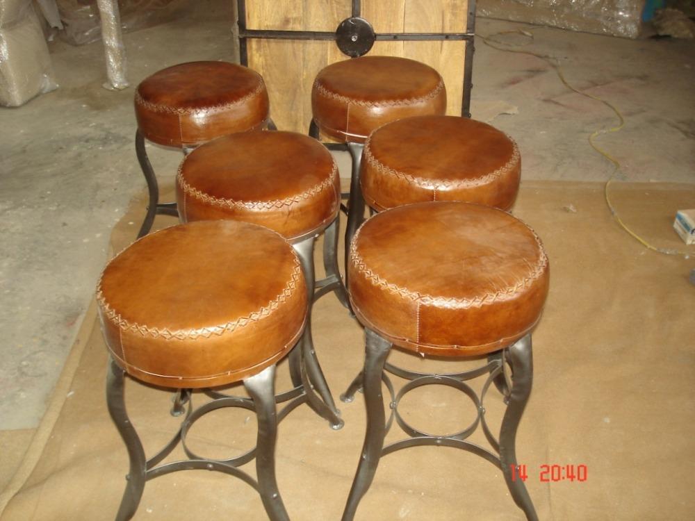 Sgabello in pelle industriale hme e bar sgabelli da bar antico