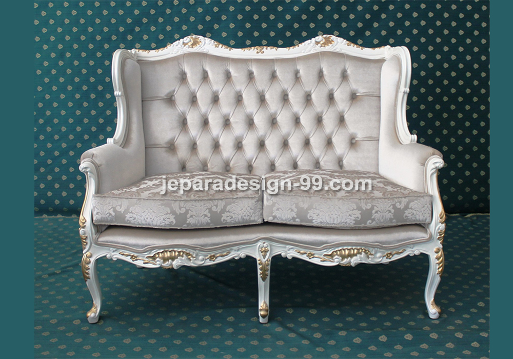 French Wingback Double Seater Sofa For Living Room