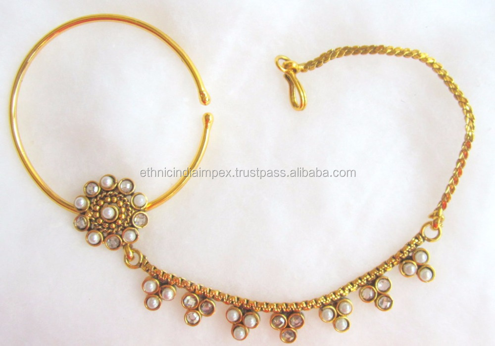 Indian gold jewelry nose rings