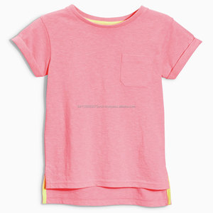 Kids T-Shirt, side slit, back part large with pocket, 100% Ctn, S/J, 160 Gsm