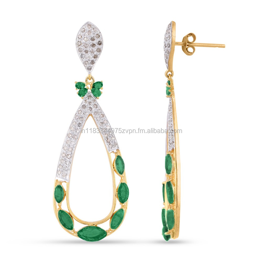 Emerald Gemstone Natural 1.12ct Diamond Pave 925 Sterling Silver Dangle Drop Earrings Vintage Style Jewelry