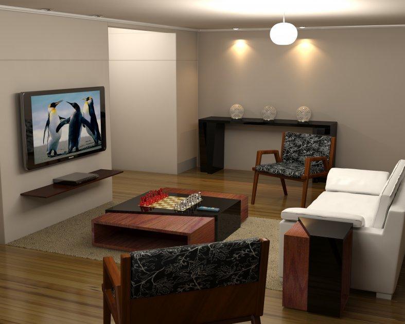 woonkamer meubels houten tafel in het midden braziliaanse modern
