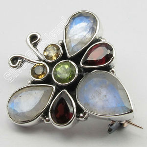 925 Sterling Silver Multistone brooches