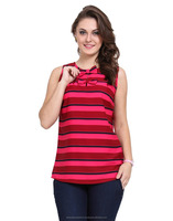 Popular design Round neck Pink And Red Color of ladies casual tops