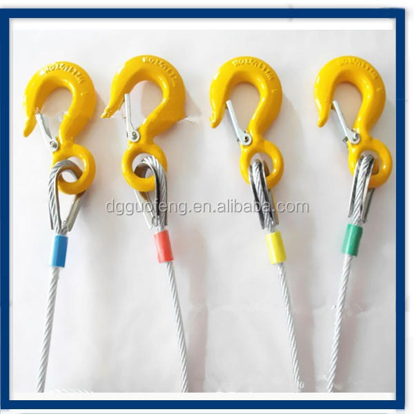 Guofeng good quality  wire cable lifting sling with hooks end parts