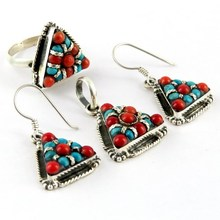 My Sweet Design !! Coral_Turquoise 925 Sterling Silver Jewelry Set, AJ Jewelry Wholesale Manufacturer, Sets Wholesale
