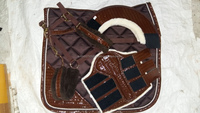 Horse Saddle pad set with matching boot ,ear bonnet, halter