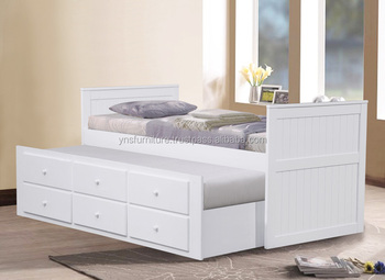 Charming Modern Solid Wooden White Drawers Storage Single Beds/ Drawers Bed /box Bed  Cap Bed