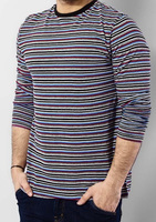 Black,Charcoal & Red Yarn Dyed Striped Long Sleeve Crew Neck T-Shirt jersey made