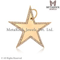 Handmade Star 925 Sterling Silver Diamond Pave Yellow Gold Pendant